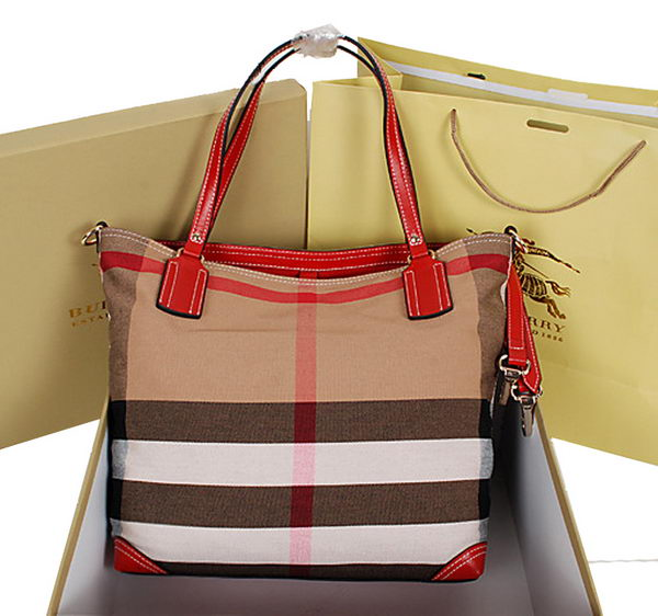 BurBerry Jute and Cotton Canvas Tote Bag 9181 Red