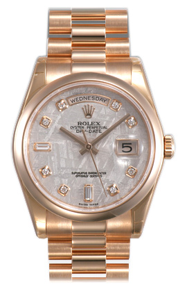 Rolex Day-Date Series Mens Automatic 18kt Rose Gold Wristwatch 118205-MTDP