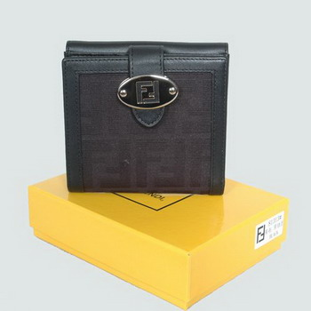 Fendi canvas 81313 black leather wallet