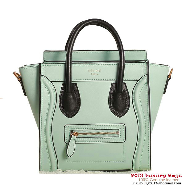 Celine Luggage Nano Boston Bag Original Leather Light Green&Black