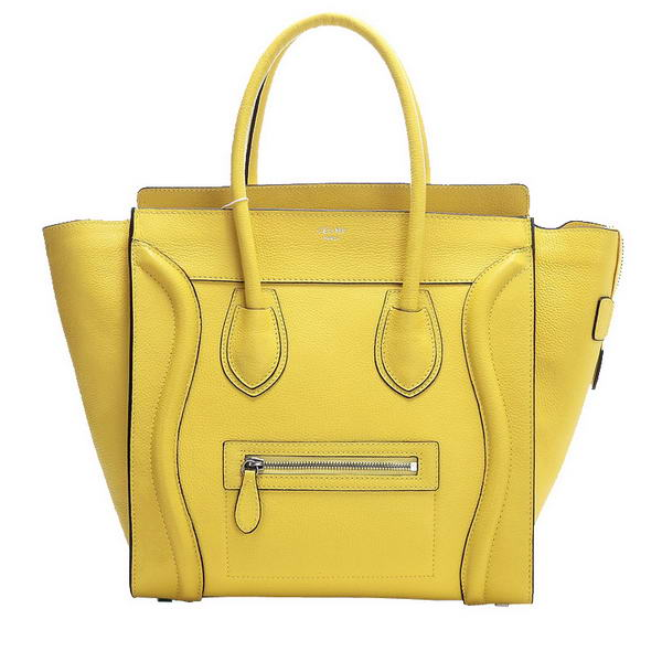 Celine Luggage Mini Boston Tote Bags Fluorescence Leather Yellow