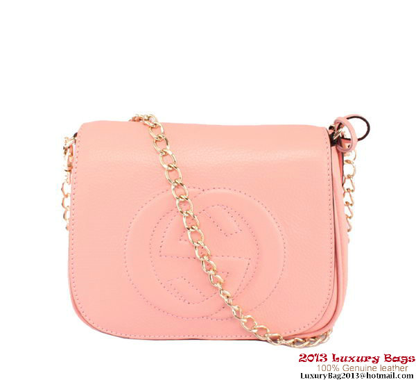 Gucci Soho Leather Chain Shoulder Bag 323190 Pink