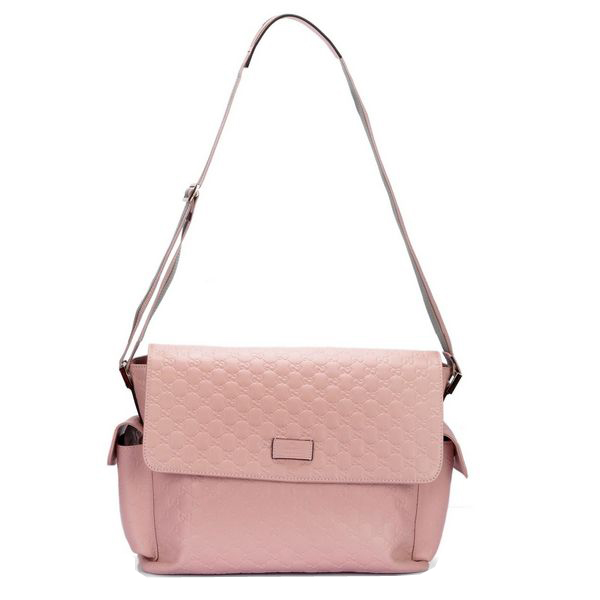 Gucci Messenger Diaper Bag Guccissima Leather 201761 Light Pink