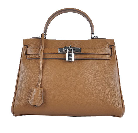 Hermes Kelly 28cm Shoulder Bags Wheat Grainy Leather Silver