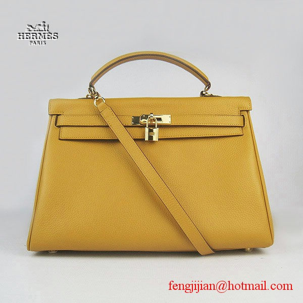 Hermes Kelly 35cm Togo Leather Bag Yellow 6308 Gold Hardware