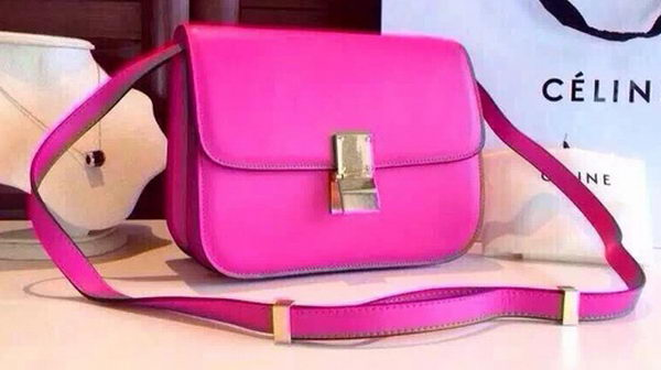 Celine Classic Box Flap Bag Calfskin Leather C2263 Rose