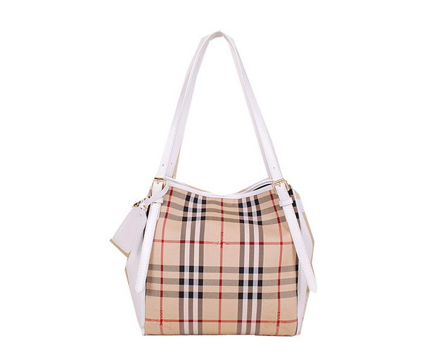 BurBerry Small Haymarket Check Tote Bag B3711 White