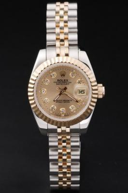 Rolex Datejust Mechanism Golden Surface Cutwork Women Watch-RD24