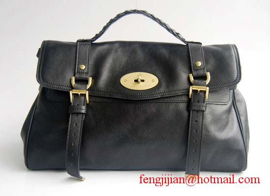 Mulberry Oversized Alexa Soft Buffalo Leather Messenger and Shoulder Bag black 7541L