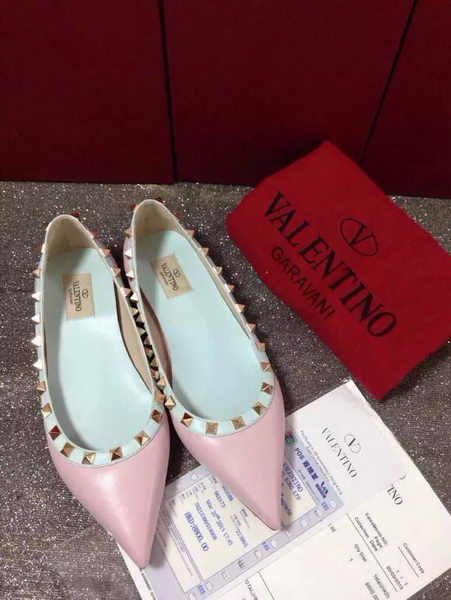 Valentino Point-Toe Flat Sheepskin Leather VT422 Pink