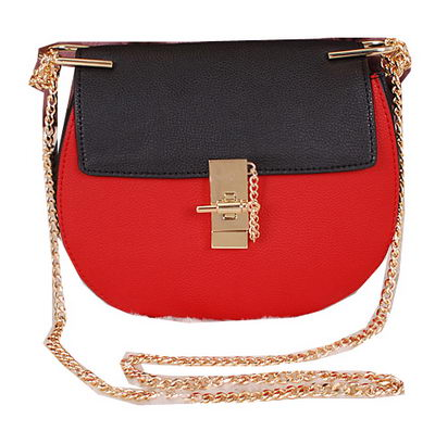 CHLOE Drew Small Grained Leather Shoulder Bag 1120 Black&Red