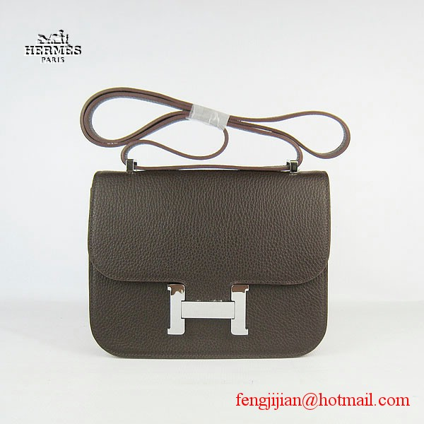 Hermes H017 Coffee Leather  Silver Hardware