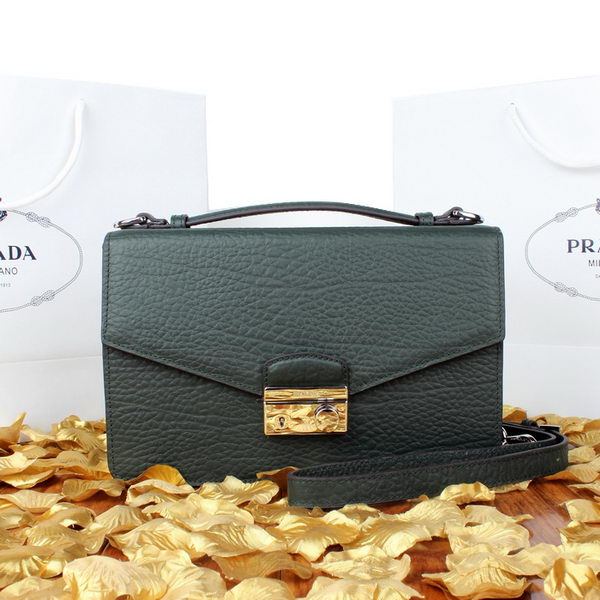 Prada Grainy Leather Mini Bag BT8092 Dark Green