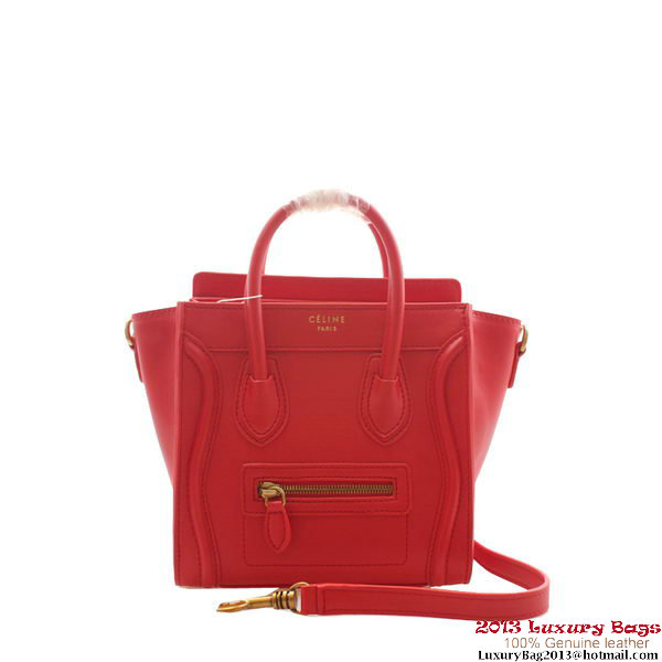 Celine Luggage Nano Boston Red Clemence Leather Bags