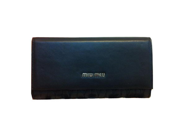 miu miu Matelasse Original Sheepskin Leather Bi-Fold wallets M1371 Black