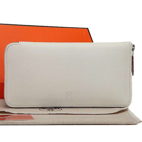 Hermes Zipper Wallet Original Leather A309 White
