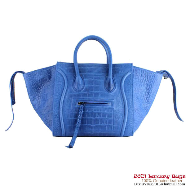 Celine Luggage Phantom Bags Crocodile Leather Blue
