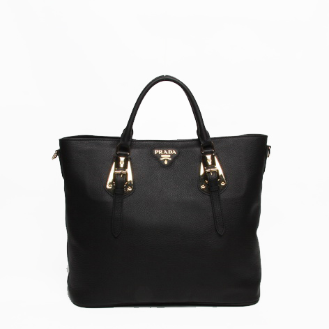 Prada BN1902 Black Original Calf Leather Tote Bag