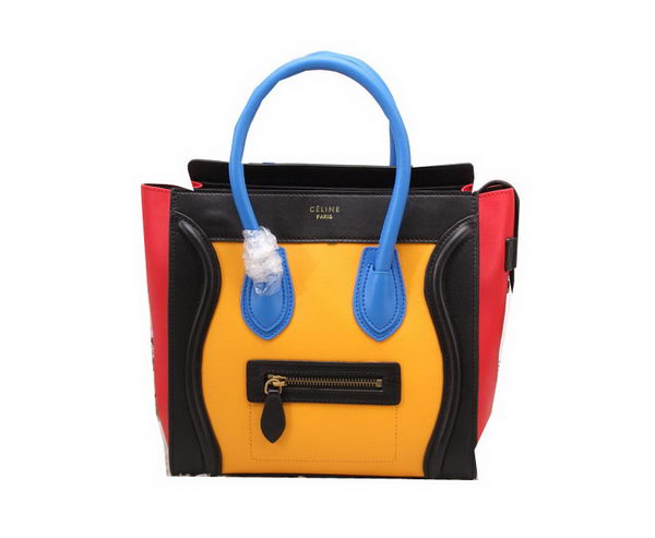 Celine Luggage Micro Bag Smooth Leather Yellow&Black&Red