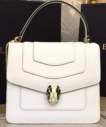 2015 BVLGARI Serpenti Forever Bag Original Leather White