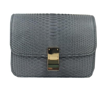 Celine Classic Box Small Flap Bag Genuine Snake C11042 Grey