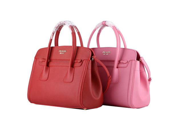 PRADA Saffiano Cuir Leather Tote BN2595 Red&Pink