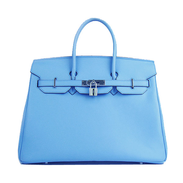 Hermes Birkin 35CM Tote Bag Skyblue Smooth Leather H6089 Silver