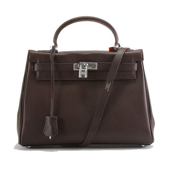 Hermes Kelly 32cm Togo Leather Handbags 6018 Dark Coffee Silver