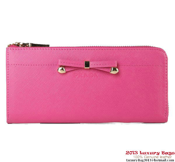 Prada Original Calf Leather Zippy Wallet 1M1142 Rosy