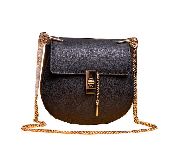 CHLOE Drew Small Grained Leather Shoulder Bag 2480 Black