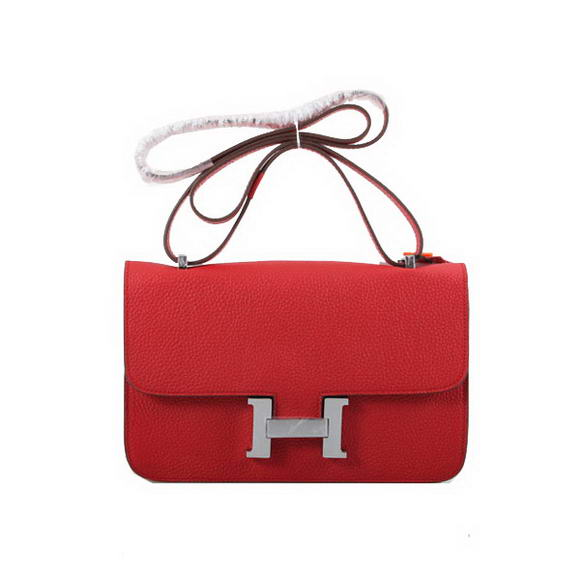 Hermes Constance Bag Togo Leather 1622L Red Silver