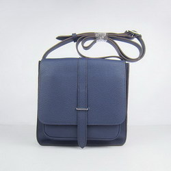 Hermes Deep-Blue Cow Leather Messenger Bags H2811