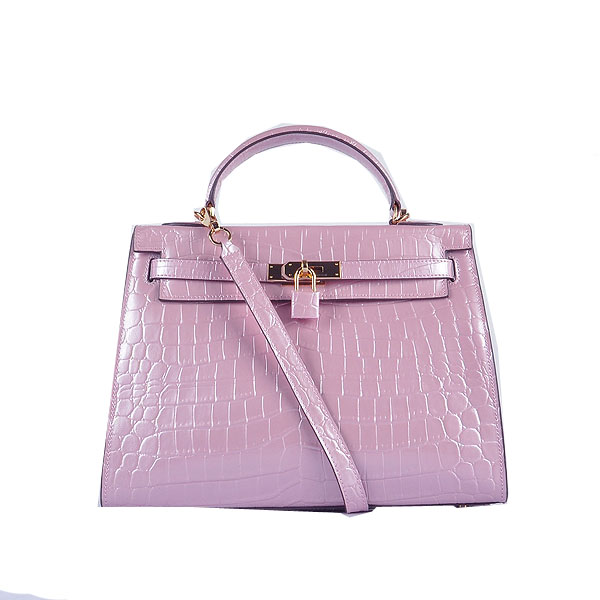 Hermes Kelly 32cm Shoulder Bags Lavender Iridescent Croco Leather Gold