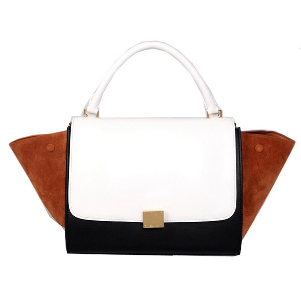 Celine Trapeze Bag Calfskin & Nubuck Leather C008B White&Black&Brown