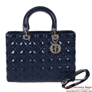Lady Dior Bag Medium Bag D9603 RoyalBlue Patent Leather Silver