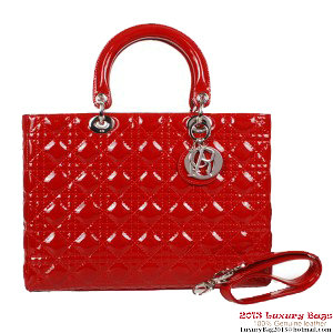 Lady Dior Bag Medium Bag D9603 Red Patent Leather Silver