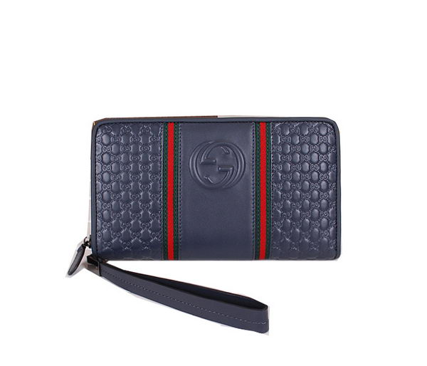 Gucci Guccissima Leather Mens Clutch G60063 Royal