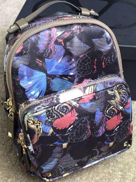 Valentino Camubutterfly Printed Small Backpack Nylon VT13301 Khaki