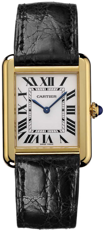 Cartier Tank Solo Fashionable 18k White Gold Mens Swiss Quartz Wristwatch-W1018855