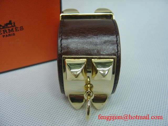 2010 Hermes dark Brown Leather Gold Bangle 1171