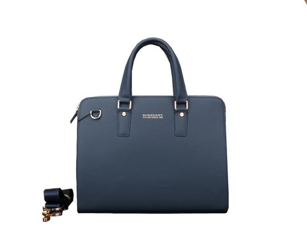 Burberry Calfskin Leather Mens Briefcase B80121 Blue