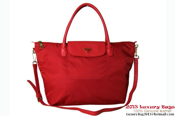 Prada BN2107 Tessuto Nylon Tote Bag Red