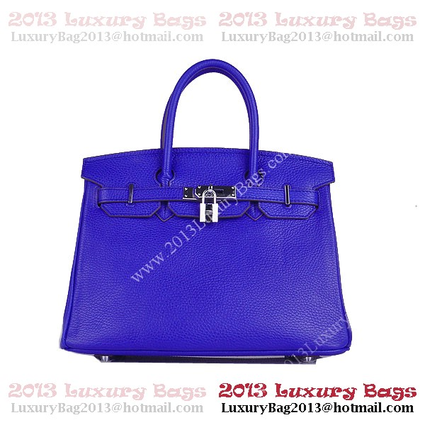 Hermes Birkin 30CM Tote Bag Blue Clemence Leather H6088 Silver