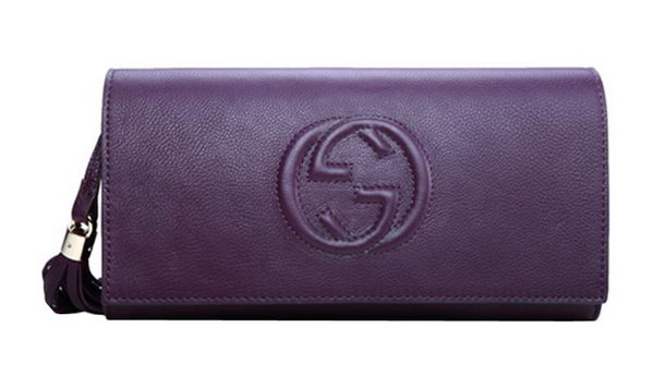 Gucci Soho Original Leather Clutch 336753 Purple