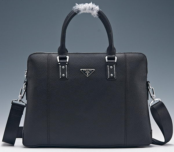 Prada Litchi Calf Leather Briefcase PF8857 Black
