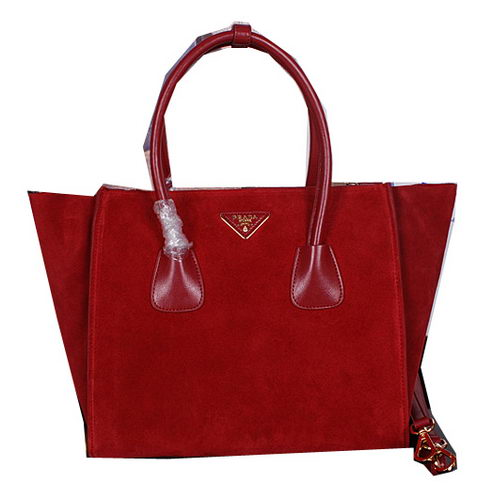 Prada Nubuck Leather Tote Bags BN2619 Red