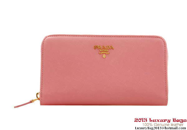 Cheap Prada Saffiano Calf Leather Wallet 1M0506 Pink