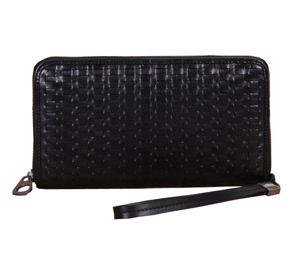 Bottega Veneta Intrecciato Nappa Zip Around Wallet BV125 Black
