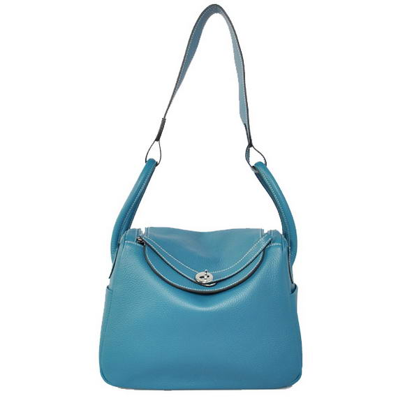 Hermes Lindy 30CM Havanne Handbags 1057 Mid Blue Leather Silver Hardware