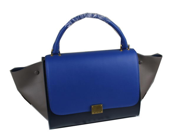 Celine Trapeze Bag Original Leather C3342 Blue&Royal&Grey
